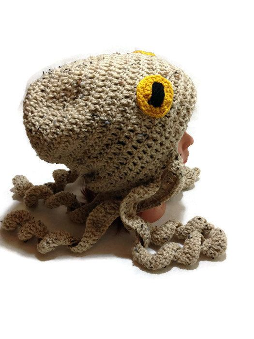 Crochet Octopus Hat Tan Octopus Beanie Slouchy by AddSomeStitches