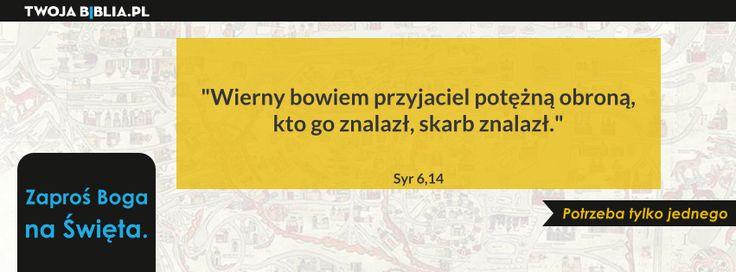 """""""Wierny bowiem przyjaciel potężną obroną, kto go znalazł, skarb znalazł"""" Syr 6,14"""