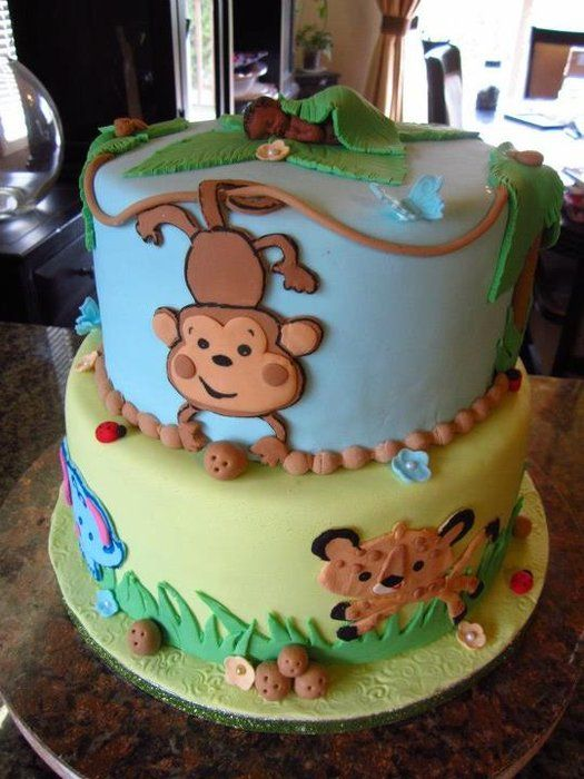 118 best images about safari cakes on pinterest jungle animals animal themes and safari baby - Baby shower monkey theme cakes ...