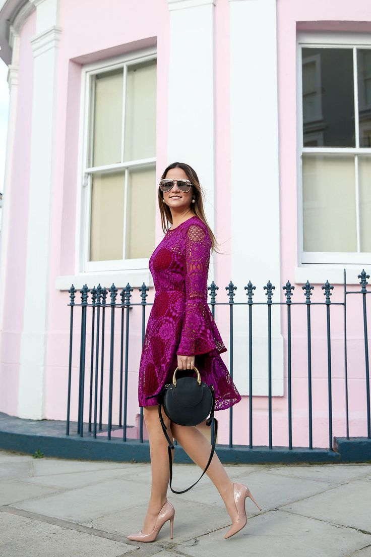 Red Lace Bell Sleeve Fit and Flare Dress   Notting Hill, London