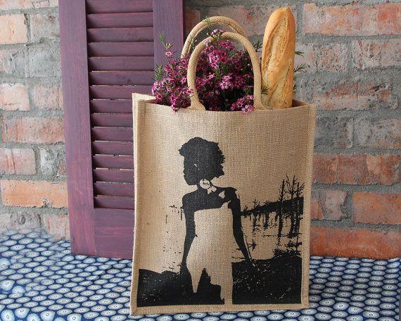 Burlap Tote Bag - Jute Tote - African Shopping Bag - Jute Shopping Bag - African Bag - Burlap Tote - Women's Shopping Bag - Afrocentric Bag