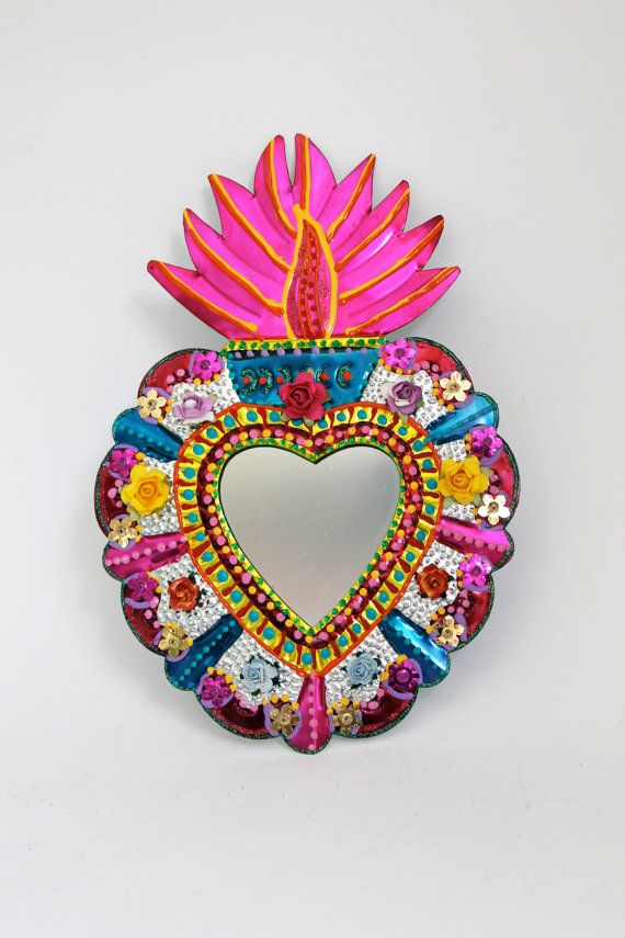Sacred Heart tin metal mirror / Mexican folk art by TheVirginRose, $38.00