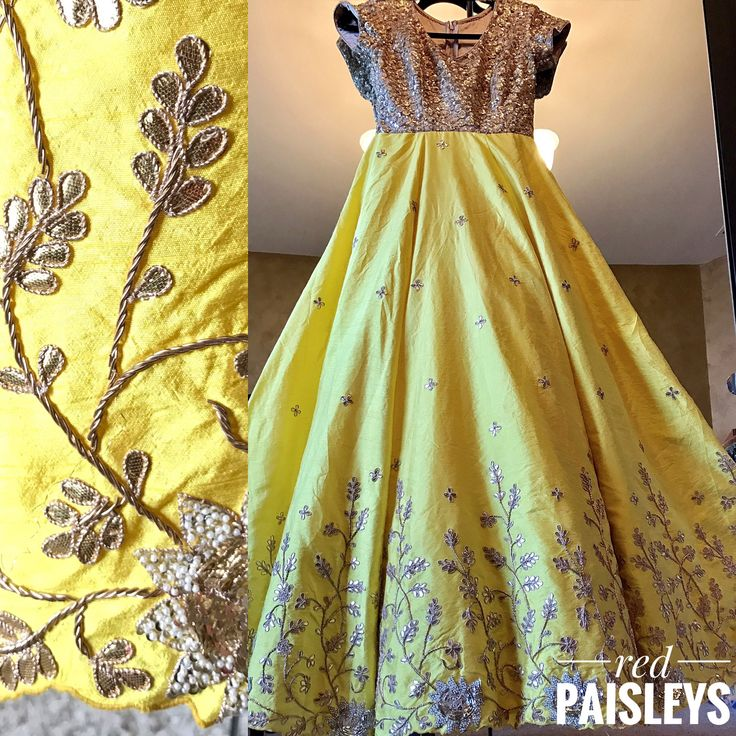 Beautiful spring summer yellow gold anarkali. For more details  info@redpaisleys.com or 469.248.7733