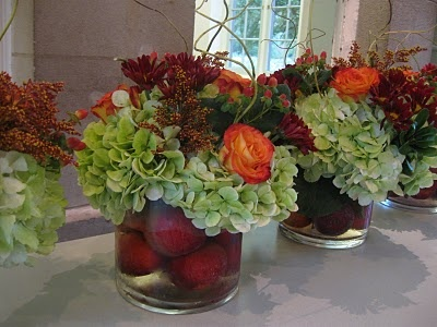 Apples In The Container With Fall Roses Hydrangea Daises