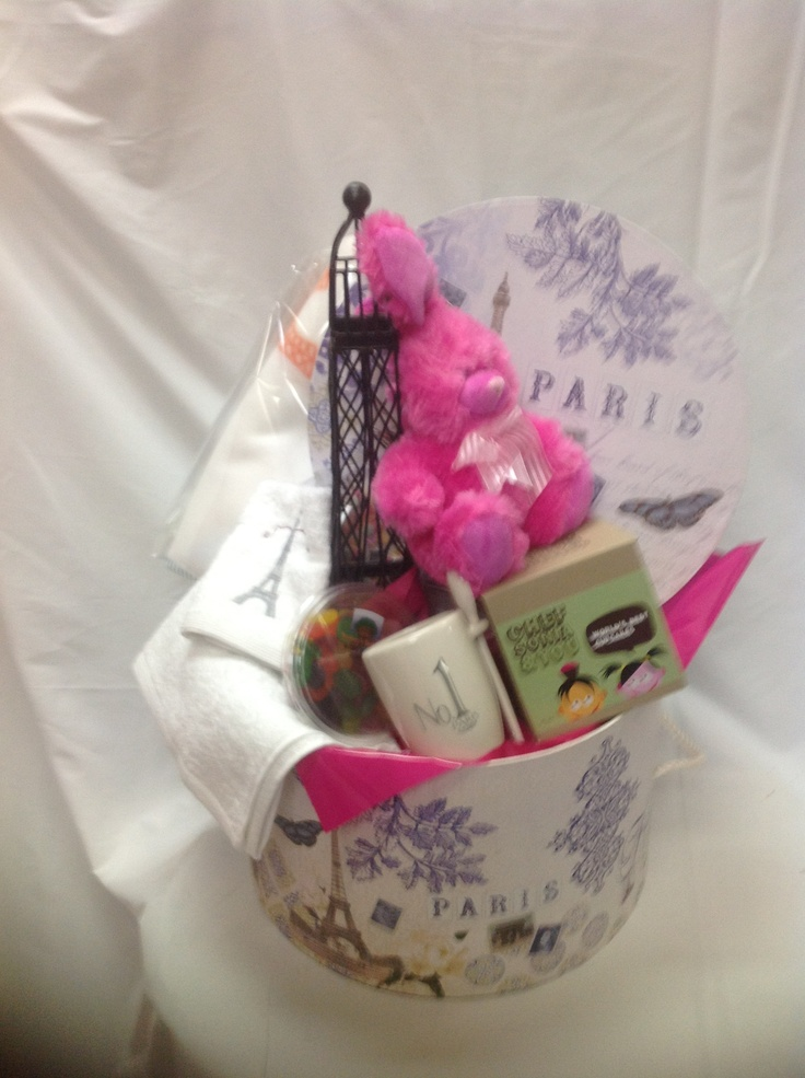 $140.00Au* - French Themed Hat Box - Is Paris on your mind?. Coffee and Cups, Sweet treats, Hnad Towel, Soft toy and much more.  *Delivery is Not Included in Prices shown.