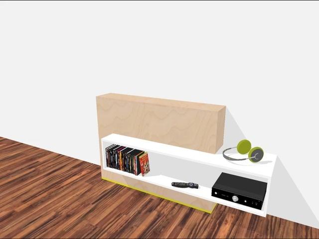 Sleek design TV cabinet you can build yourself . Flat-screen TV , equipment , remote and DVDs in a compact and tidy sleek and modern furniture piece . The flat screen TV appears via a lift system. | Strak ontwerp TV kast om zelf te bouwen. Flatscreen TV, apparatuur, afstandbediening en dvd's compact en opgeruimd in een strak en modern meubel. De flatscreen TV komt middels een liftsysteem omhoog. Youtube: http://youtu.be/FQtQ2GPZ07c