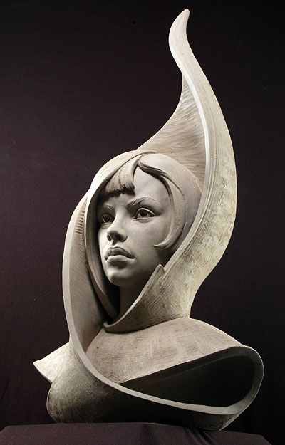 """Stone Flower - Earthenware 29""""x17""""x11"""" - Philippe Faraut  (this is a prototype for a future carving in marble)"""