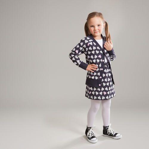 Cardigan Sweetest Hearts http://en.nosh.fi/product/929/cardigan-sweetest-hearts-graphite with a matching Skirt http://en.nosh.fi/product/930/skirt-sweetest-hearts-graphite. Jacquard knit with soft hearts design.