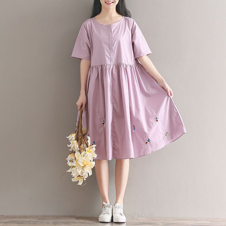 Women loose fit over plus size pastel purple girl feature embroidered dress  #Unbranded #dress #Casual