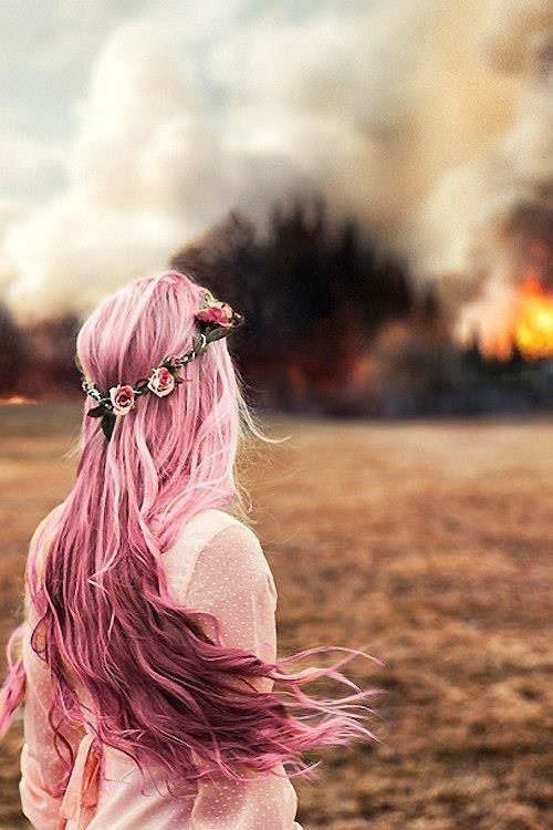 Fun Hiar Color: Pink hair starring at a wild fire... Weird but still a cool picture