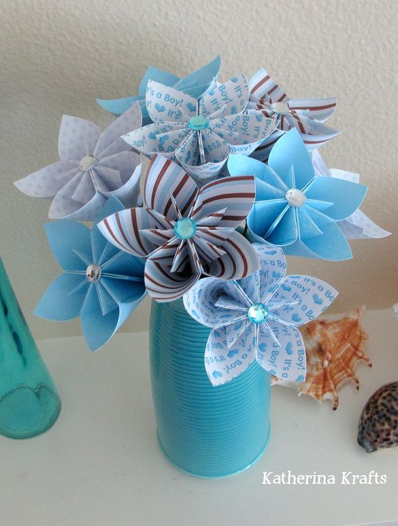 Origami Flowers  It's a Boy Blue for Baby Boy by KatherinaKrafts, $42.00