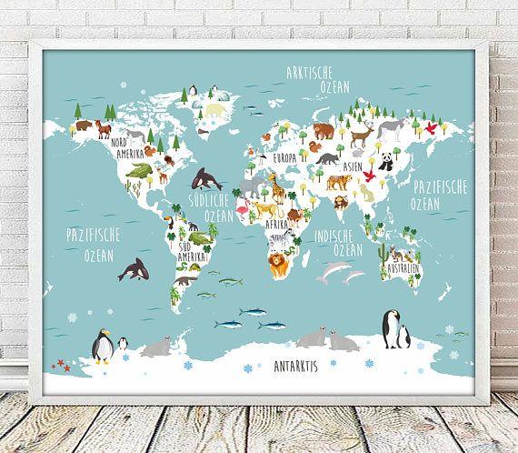 Mapa infantil aleman,mapamundi ALEMAN,mapa animales,IMPRIMIBLE,laminas aleman,cuadros infantiles,mapa del mundo aleman, incluye 4 TAMAÑOS