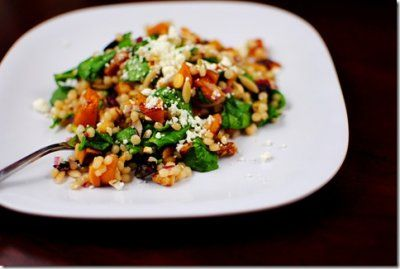 israeli couscous salad with feta, cranberries, walnuts, spinach, red ...