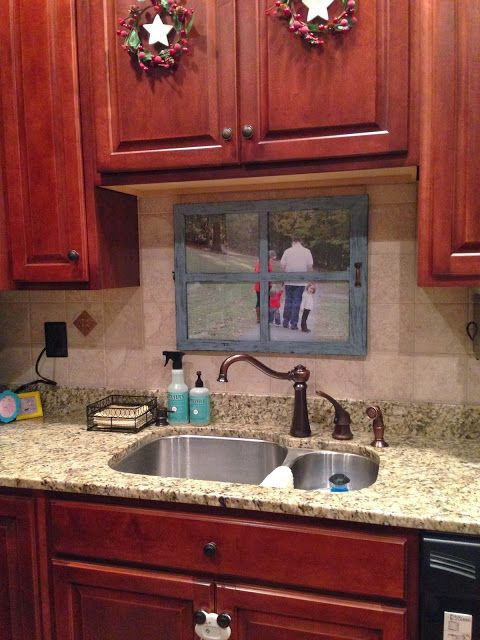 middle unit townhouse no window over the sink so i made my own window i put a photo of our on kitchen decor over sink id=38258