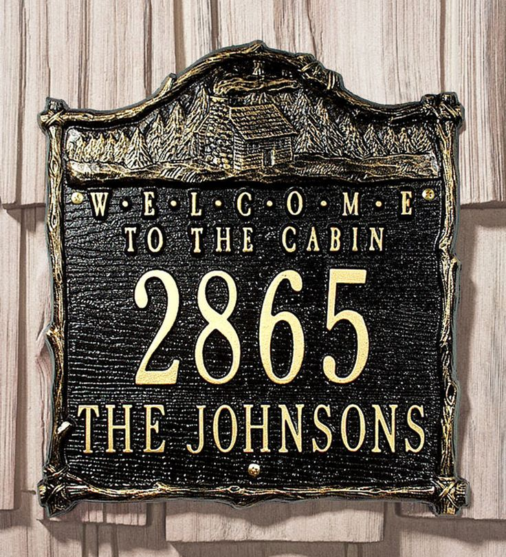 American made welcome to the cabin address plaque in for Location plaque garage