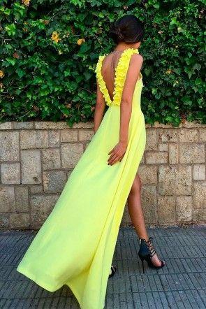 vestido de fiesta amarillo largo con escote en la espalda para boda evento coctel graduacion de primavera verano en apparentia