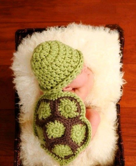 Newborn Baby Infant Knit Sweater Crochet Photography Prop turtle costume 0-8M HK