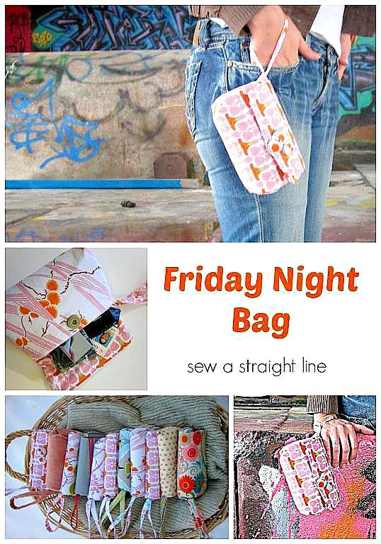 A free sewing pattern from Straight Line Design for this classy wristlet bag you can take anywhere. An intermediate sewing pattern that only requires two fat quarters, some interfacing and ...