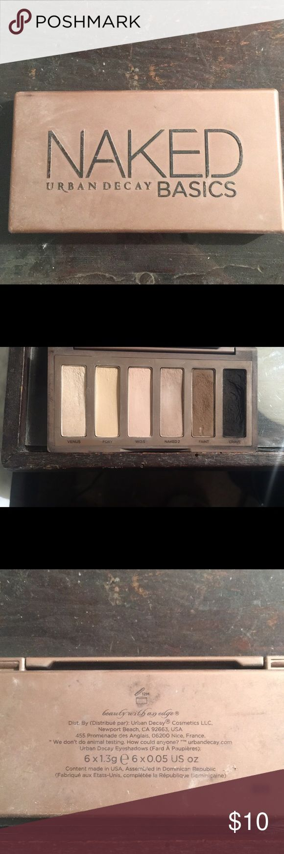 Urban decay naked basics palette Some signs of wear. Black shadow is a little cracked (see pic above) but overall in good condition. Only used a handful of times. Outside got dirty from being in my makeup box. Have not hit pan on any shadow. Urban Decay Makeup Eyeshadow