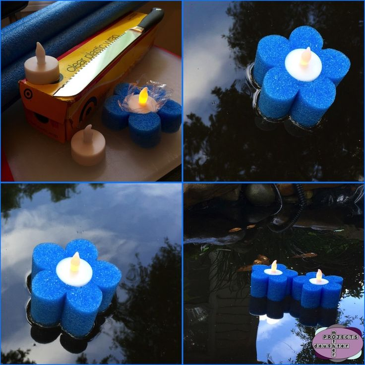 Pool noodle floating tea lights. MotherDaughterProjects.com