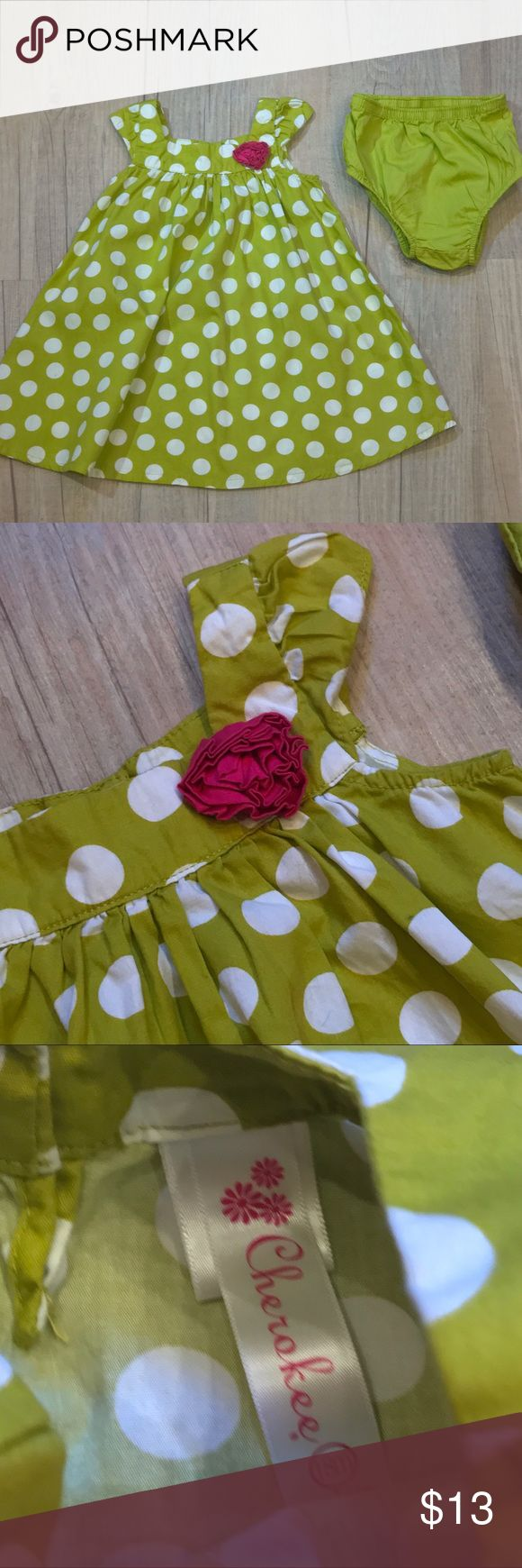"Polka Dot Dress with Bloomers Cherokee brand, size 18 months, in EUC. Petty green color with white Polka Dots and a pink flower near neckline. Matching bloomers included, measures 17"" long. (6-6) Cherokee Dresses"