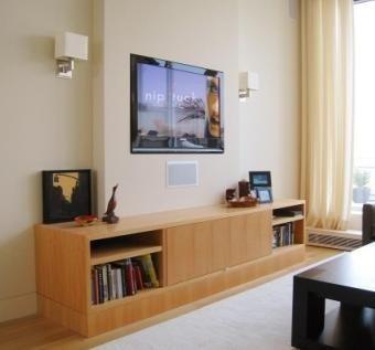 Custom Made Modern Media Cabinet In Anigre