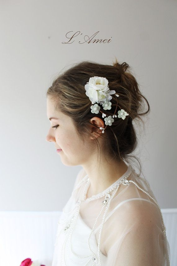ON SALE Small White Flower Bridal Wedding Accessory Hair by LAmei, $26.00