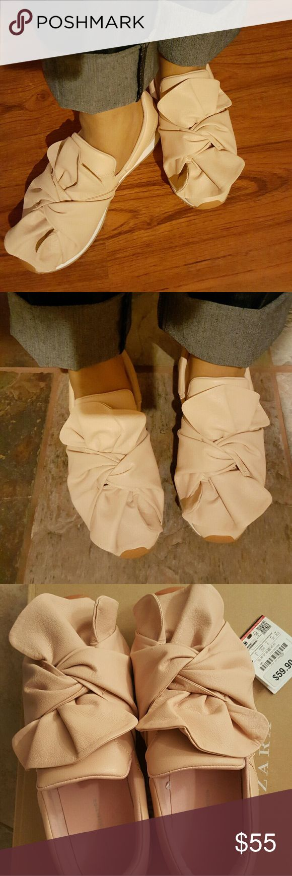 Authentic Zara Blush Cream Bow Sneakers!! NWT, Worn once in this pic.  No stains or marks. Excellent condition.  Just purchased from Zara online. Size 8, Euro 39 Comes with dust bag and box. Zara Shoes Sneakers