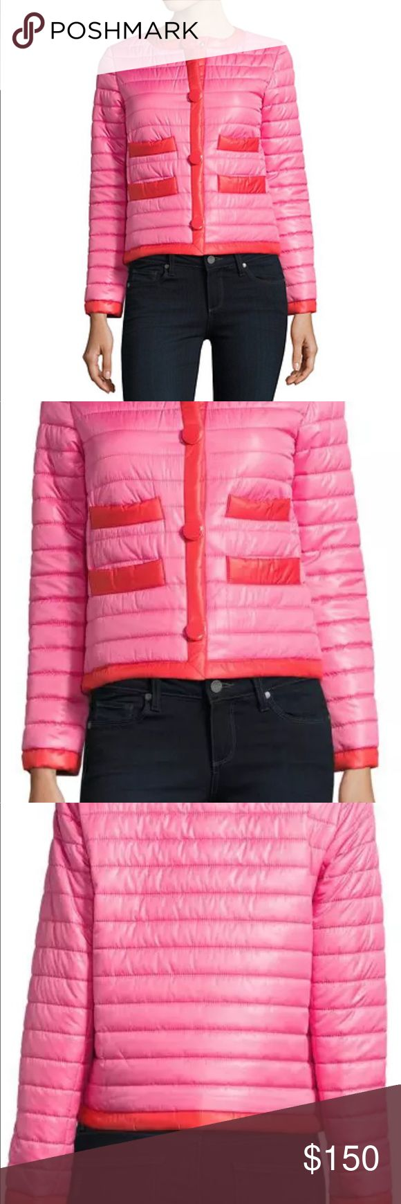 Kate Spade Women's puffer Jacket XL Kate Spade  Contrast-Trimmed Packable Quilted Jacket  Swirl Pink  Crewneck  Long sleeves  Front snap button closure  Four front open pockets  Bow accent at back  Polyester lining  Includes quilted bag for packing  Polyester/spandex  Machine wash  Imported Kate Spade Jackets & Coats Puffers