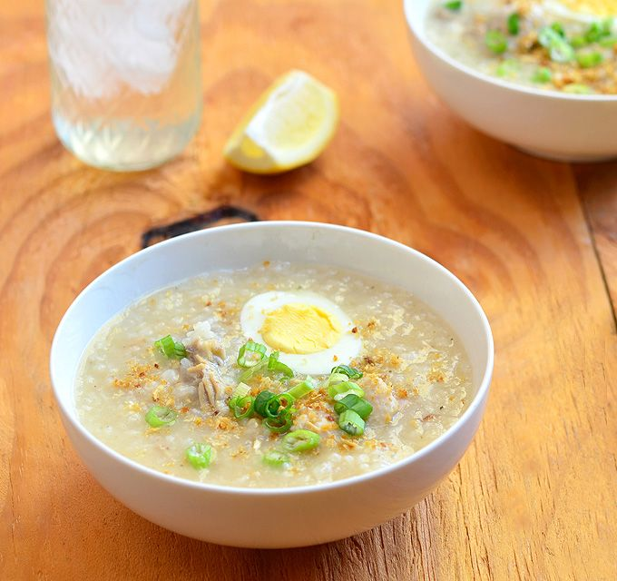 Arroz Caldo - Filipino-style chicken rice soup is a hearty soup to warm you up on a cold day