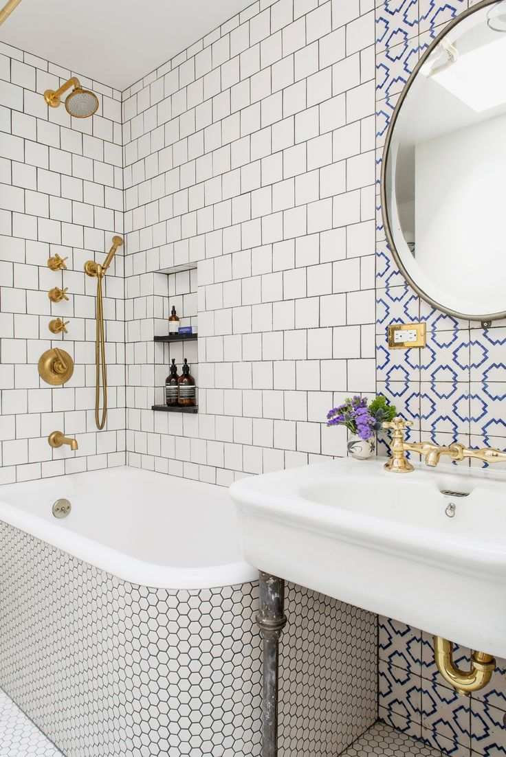 brooklyn house tour mixed tiles and brass fixtures in the bathroom | via…