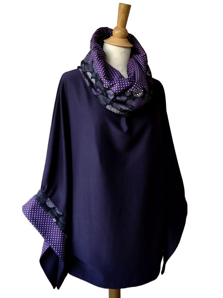 Très jolie tunique poncho ample, Tissu maille violet. tunique longue à grand col roulé, manches kimono asymétriques très amples 3/4. http://www.boutiqueyeiho.com/