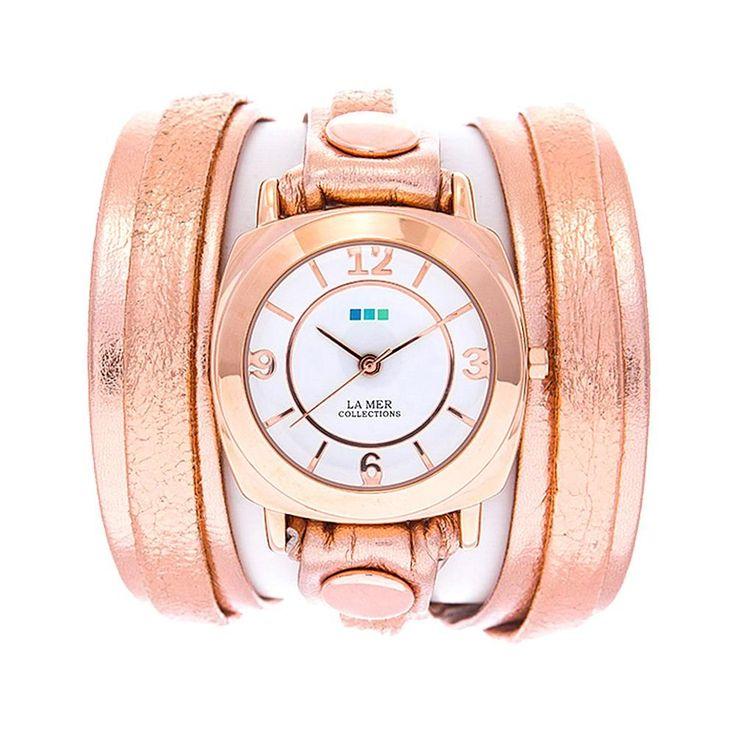 La Mer Round Case White Dial Rosetone Metallic Leather Wrap-Design Watch