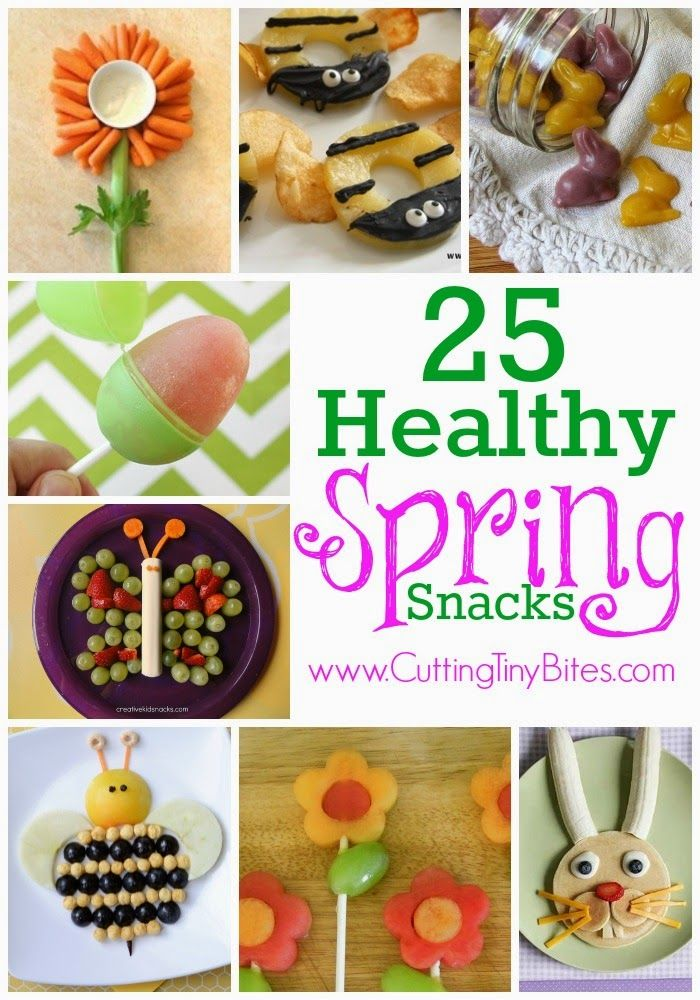 Healthy kids snacks for Spring or Easter.  Lots of fun food ideas, including flowers, butterflies, bunnies, bees and more!