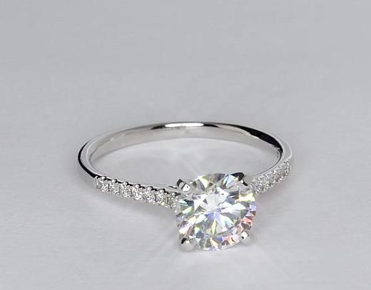 1.5 Carat Diamond Petite Cathedral Pavé Diamond Engagement Ring | Recently Purchased | Blue Nile