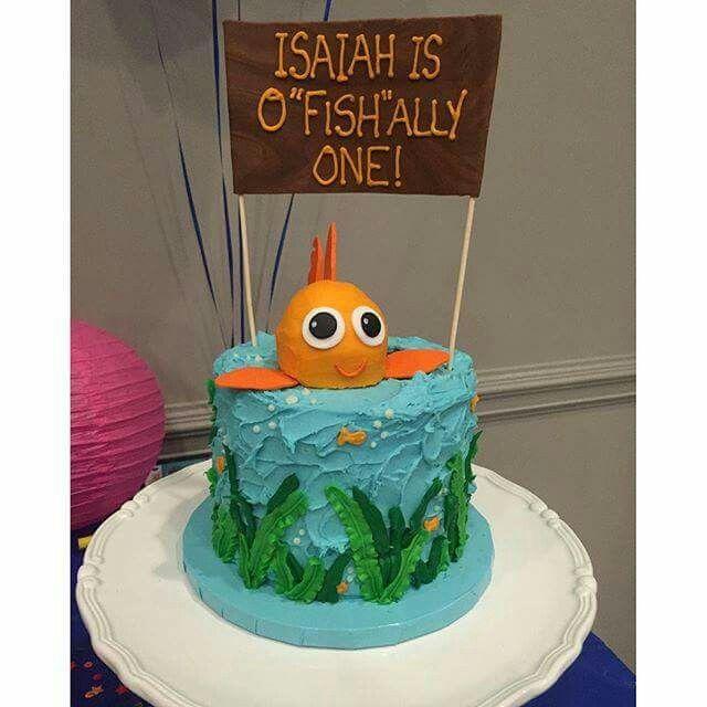 First birthday cake underwater theme