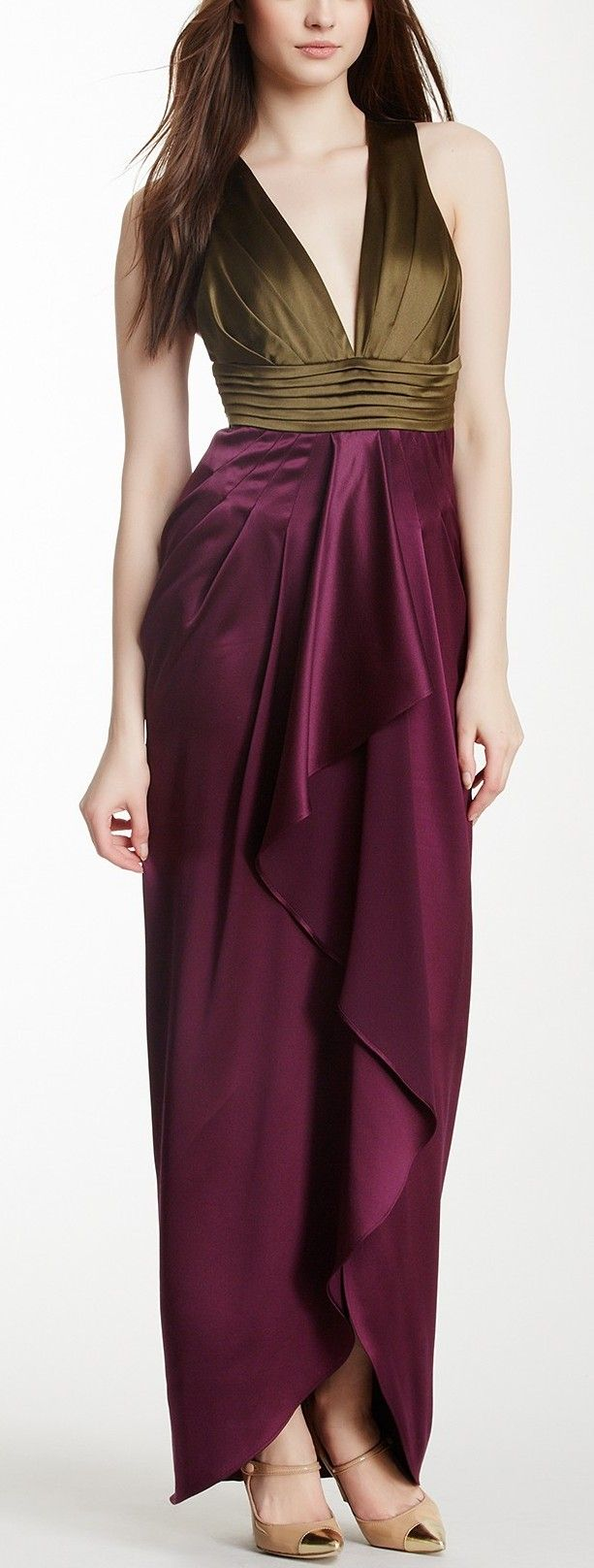 Chartres Colorblock Silk Gown