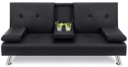 Amazon Com Walsunny Modern Faux Leather Couch Convertible Futon