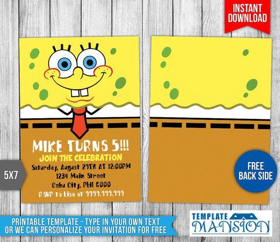 7 best spongebob invitation printables images on pinterest spongebob invitation spongebob birthday by templatemansion on etsy solutioingenieria Gallery