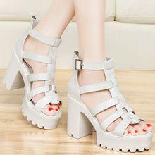 Nuevos zapatos del verano mujeres sandalias plataforma del talón grueso de gasa punta abierta sandalias de tacón alto para mujeres Sandale Femme blanco negro(China (Mainland))