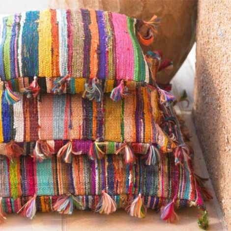 Rag Pillows ... I've always loved Mexican rugs and things made out of this woven colorful fabric <3  Something about it ...