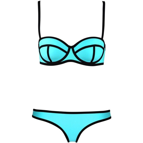 LUCLUC Sky Blue Bandeau Triangle Push Up Bikini Set (£9.54) ❤ liked on Polyvore featuring swimwear, bikinis, swimsuits, bathing suits, bandeau swimsuit, push up bikini, triangle bathing suits, push up bikini swimwear and triangle bikini