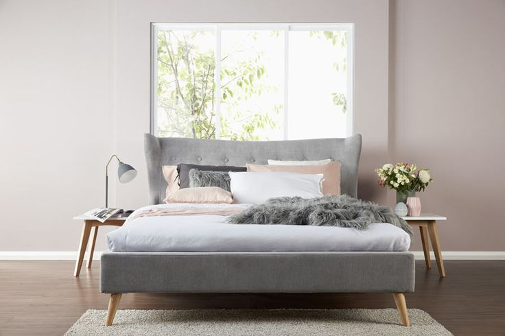 Kamma Upholstered Bed- With it's soft velour finish and winged headboard, the Kamma adds a mid-century style to the bedroom.