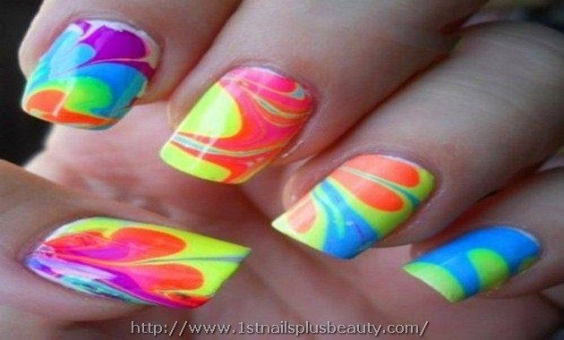 Marble Nail Art Without Water Picture