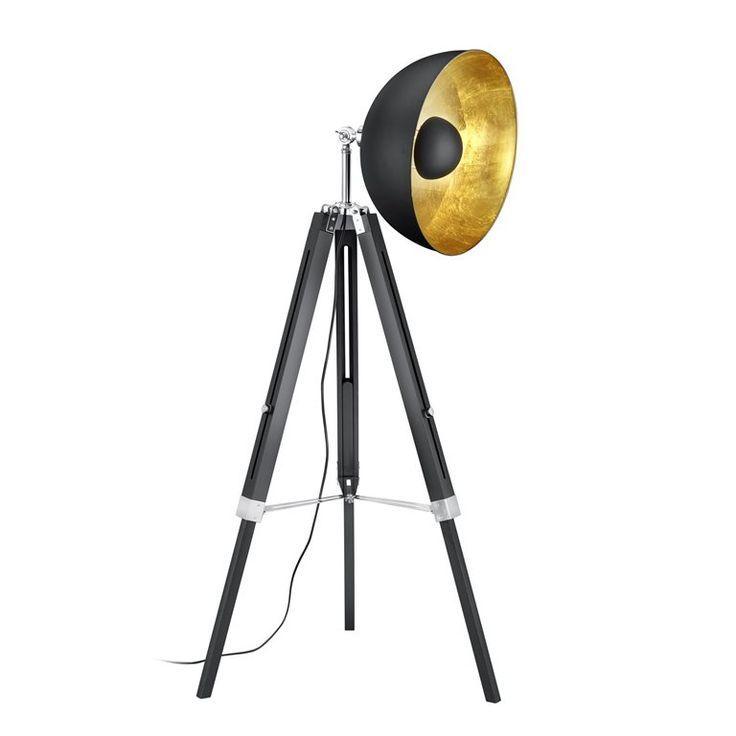 TRIO Liège Vloerlamp Prijs:€222,- Stijlvolle vloerlamp van H 160 x Ø 80 cm De goudkleurige binnenzijde zorgt voor warm sfeervol licht Stel de hoogte van de driepoot zelf in Mooie grote kap van Ø 41 cm De halve bol in het midden voorkomt dat je direct in het licht kijkt