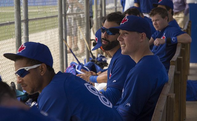 Vets and kids mingled in the dugouts during Jays intrasquad game. by LottOnBaseball, via Flickr  From left: Anthony Gose, Aaron Sanchez, Jose Bautista and Chris Getz.