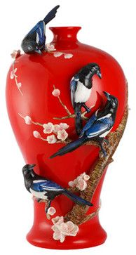 FRANZ PORCELAIN COLLECTION Four Magpies On Plum Tree Vase FZ02988 transitional-vases