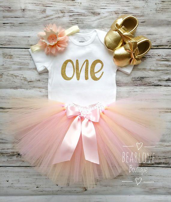 Vestito di compleanno rosa e pesca | Compleanno dell'oro e della pesca | Primo compleanno costume | Vestito di compleanno corallo | Torta vestito Smash | Foto Prop