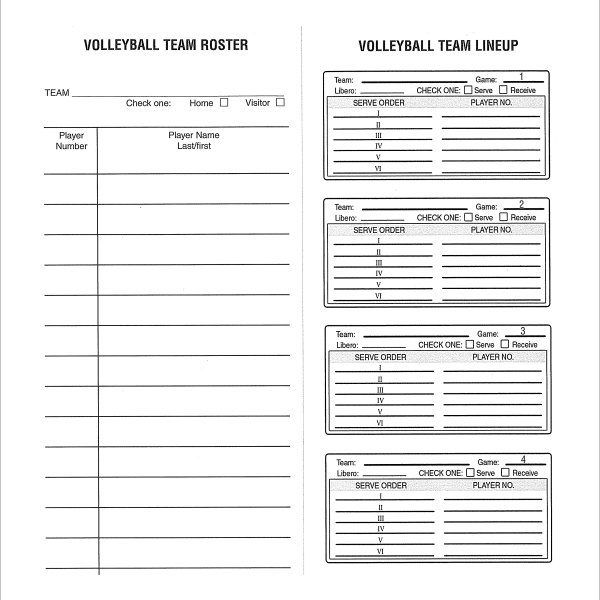 Sample Volleyball Roster Template 6 Free Documents Download In
