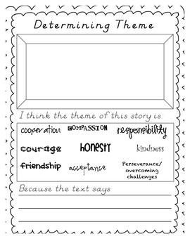 The Common Core State Standards require that students be able to recount stories and determine their central message, lesson, moral, or theme.  Using the 9 main themes identified in my own classrom, I have created a quick and easy worksheet for students to use when determining theme and responding to literature!